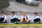 "The Boat Race season 2018 - Women's Boat Race Trial Eights (OUWBC, Oxford): ""Coursing River"" - 7 Juliette Perry, 6 Katherine Erickson, 5 Morgan McGovern, 4 Anna Murgatroyd. River Thames between Putney Bridge and Mortlake, London SW15,  United Kingdom, on 21 January 2018 at 14:28, image #60"