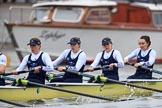 """The Boat Race season 2018 - Women's Boat Race Trial Eights (OUWBC, Oxford): """"Coursing River"""" - 4 Anna Murgatroyd, 3 Stefanie Zekoll, 2 Rachel Anderson, bow Sarah Payne-Riches. River Thames between Putney Bridge and Mortlake, London SW15,  United Kingdom, on 21 January 2018 at 14:28, image #64"""