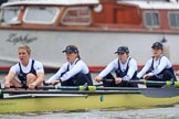 """The Boat Race season 2018 - Women's Boat Race Trial Eights (OUWBC, Oxford): """"Coursing River"""" - 5 Morgan McGovern, 4 Anna Murgatroyd, 3 Stefanie Zekoll, 2 Rachel Anderson. River Thames between Putney Bridge and Mortlake, London SW15,  United Kingdom, on 21 January 2018 at 14:28, image #65"""