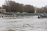 """The Boat Race season 2018 - Women's Boat Race Trial Eights (OUWBC, Oxford): """"Great Typhoon"""" and """"Coursing River"""" passing the boat houses on Putney Embankment. River Thames between Putney Bridge and Mortlake, London SW15,  United Kingdom, on 21 January 2018 at 14:28, image #68"""