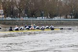 """The Boat Race season 2018 - Women's Boat Race Trial Eights (OUWBC, Oxford): """"Coursing River"""" passing the boat houses on Putney Embankment - cox Ellie Shearer, stroke Beth Bridgman, 7 Juliette Perry, 6 Katherine Erickson, 5 Morgan McGovern, 4 Anna Murgatroyd, 3 Stefanie Zekoll, 2 Rachel Anderson, bow Sarah Payne-Riches. River Thames between Putney Bridge and Mortlake, London SW15,  United Kingdom, on 21 January 2018 at 14:28, image #69"""