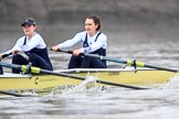 """The Boat Race season 2018 - Women's Boat Race Trial Eights (OUWBC, Oxford): """"Coursing River"""" - 2 Rachel Anderson, bow Sarah Payne-Riches. River Thames between Putney Bridge and Mortlake, London SW15,  United Kingdom, on 21 January 2018 at 14:29, image #73"""