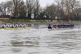 """The Boat Race season 2018 - Women's Boat Race Trial Eights (OUWBC, Oxford): """"Coursing River"""" - 7 Juliette Perry, 6 Katherine Erickson. River Thames between Putney Bridge and Mortlake, London SW15,  United Kingdom, on 21 January 2018 at 14:30, image #74"""