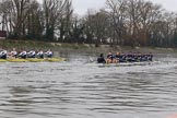 """The Boat Race season 2018 - Women's Boat Race Trial Eights (OUWBC, Oxford): """"Coursing River"""" and """"Great Typhoon"""" after passing the boat houses on Putney Embankment. River Thames between Putney Bridge and Mortlake, London SW15,  United Kingdom, on 21 January 2018 at 14:30, image #75"""