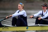 "The Boat Race season 2018 - Women's Boat Race Trial Eights (OUWBC, Oxford): ""Coursing River"" - stroke Beth Bridgman, 7 Juliette Perry. River Thames between Putney Bridge and Mortlake, London SW15,  United Kingdom, on 21 January 2018 at 14:31, image #82"
