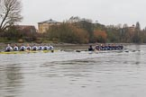 "The Boat Race season 2018 - Women's Boat Race Trial Eights (OUWBC, Oxford): ""Coursing River"" and ""Great Typhoon"" approaching the Harrods Depository. River Thames between Putney Bridge and Mortlake, London SW15,  United Kingdom, on 21 January 2018 at 14:32, image #83"