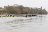 "The Boat Race season 2018 - Women's Boat Race Trial Eights (OUWBC, Oxford): ""Coursing River"" and ""Great Typhoon"" after passing the Mile Post. River Thames between Putney Bridge and Mortlake, London SW15,  United Kingdom, on 21 January 2018 at 14:32, image #84"