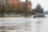 "The Boat Race season 2018 - Women's Boat Race Trial Eights (OUWBC, Oxford): ""Coursing River"" and ""Great Typhoon"" near the Harrods Depository. River Thames between Putney Bridge and Mortlake, London SW15,  United Kingdom, on 21 January 2018 at 14:33, image #85"