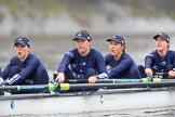 "The Boat Race season 2018 - Women's Boat Race Trial Eights (OUWBC, Oxford): ""Great Typhoon"" near the Mile Post - 6 Sara Kushma, 5 Olivia Pryer, 4 Linda Van Bijsterveldt, 3 Madeline Goss. River Thames between Putney Bridge and Mortlake, London SW15,  United Kingdom, on 21 January 2018 at 14:33, image #88"