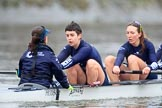 "The Boat Race season 2018 - Women's Boat Race Trial Eights (OUWBC, Oxford): ""Great Typhoon"" near the Mile Post - cox Jessica Buck, stroke Alice Roberts,  7 Abigail Killen. River Thames between Putney Bridge and Mortlake, London SW15,  United Kingdom, on 21 January 2018 at 14:33, image #89"