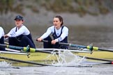 "The Boat Race season 2018 - Women's Boat Race Trial Eights (OUWBC, Oxford): ""Coursing River"" -  cox Ellie Shearer, stroke Beth Bridgman, 2 Rachel Anderson, bow Sarah Payne-Riches. River Thames between Putney Bridge and Mortlake, London SW15,  United Kingdom, on 21 January 2018 at 14:34, image #90"
