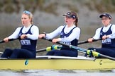 "The Boat Race season 2018 - Women's Boat Race Trial Eights (OUWBC, Oxford): ""Coursing River"" -  stroke Beth Bridgman, 7 Juliette Perry, 6 Katherine Erickson. River Thames between Putney Bridge and Mortlake, London SW15,  United Kingdom, on 21 January 2018 at 14:34, image #93"