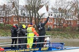 The Boat Race season 2018 - Women's Boat Race Trial Eights (OUWBC, Oxford): Race umpire Sir Matthew Pinsent warning the crews as they are getting too close. River Thames between Putney Bridge and Mortlake, London SW15,  United Kingdom, on 21 January 2018 at 14:34, image #94