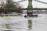 "The Boat Race season 2018 - Women's Boat Race Trial Eights (OUWBC, Oxford): ""Coursing River"" and ""Great Typhoon"" at Hammersmith Bridge. River Thames between Putney Bridge and Mortlake, London SW15,  United Kingdom, on 21 January 2018 at 14:34, image #95"