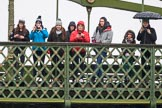 The Boat Race season 2018 - Women's Boat Race Trial Eights (OUWBC, Oxford): Friends and families on Hammersmith Bridge. River Thames between Putney Bridge and Mortlake, London SW15,  United Kingdom, on 21 January 2018 at 14:34, image #97