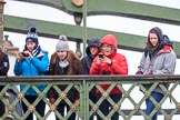 The Boat Race season 2018 - Women's Boat Race Trial Eights (OUWBC, Oxford): friends and families on Hammersmith Bridge. River Thames between Putney Bridge and Mortlake, London SW15,  United Kingdom, on 21 January 2018 at 14:35, image #98
