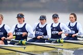 "The Boat Race season 2018 - Women's Boat Race Trial Eights (OUWBC, Oxford): ""Coursing River"" -  5 Morgan McGovern, 4 Anna Murgatroyd, 3 Stefanie Zekoll, 2 Rachel Anderson, bow Sarah Payne-Riches. River Thames between Putney Bridge and Mortlake, London SW15,  United Kingdom, on 21 January 2018 at 14:35, image #103"