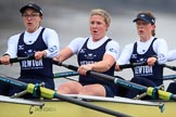 "The Boat Race season 2018 - Women's Boat Race Trial Eights (OUWBC, Oxford): ""Coursing River"" - 6 Katherine Erickson, 5 Morgan McGovern, 4 Anna Murgatroyd. River Thames between Putney Bridge and Mortlake, London SW15,  United Kingdom, on 21 January 2018 at 14:35, image #105"