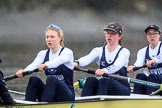 "The Boat Race season 2018 - Women's Boat Race Trial Eights (OUWBC, Oxford): ""Coursing River"" -  stroke Beth Bridgman, 7 Juliette Perry, 6 Katherine Erickson. River Thames between Putney Bridge and Mortlake, London SW15,  United Kingdom, on 21 January 2018 at 14:35, image #106"