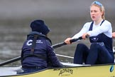 "The Boat Race season 2018 - Women's Boat Race Trial Eights (OUWBC, Oxford): ""Coursing River"" -  cox Ellie Shearer, stroke Beth Bridgman. River Thames between Putney Bridge and Mortlake, London SW15,  United Kingdom, on 21 January 2018 at 14:35, image #107"