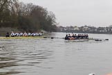 "The Boat Race season 2018 - Women's Boat Race Trial Eights (OUWBC, Oxford): ""Great Typhoon"" and ""Coursing River"" close together behind Hammersmith Bridge. River Thames between Putney Bridge and Mortlake, London SW15,  United Kingdom, on 21 January 2018 at 14:36, image #111"