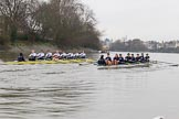 "The Boat Race season 2018 - Women's Boat Race Trial Eights (OUWBC, Oxford): ""Great Typhoon"" and ""Coursing River"" close together behind Hammersmith Bridge - close enough for the oars to come together. River Thames between Putney Bridge and Mortlake, London SW15,  United Kingdom, on 21 January 2018 at 14:36, image #112"