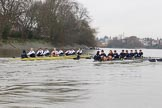 "The Boat Race season 2018 - Women's Boat Race Trial Eights (OUWBC, Oxford): ""Great Typhoon"" and ""Coursing River"" close together behind Hammersmith Bridge - close enough for the oars to come together. River Thames between Putney Bridge and Mortlake, London SW15,  United Kingdom, on 21 January 2018 at 14:36, image #113"