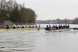 "The Boat Race season 2018 - Women's Boat Race Trial Eights (OUWBC, Oxford): ""Great Typhoon"" and ""Coursing River"" close together behind Hammersmith Bridge - close enough for the oars to come together. River Thames between Putney Bridge and Mortlake, London SW15,  United Kingdom, on 21 January 2018 at 14:36, image #114"