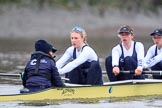 "The Boat Race season 2018 - Women's Boat Race Trial Eights (OUWBC, Oxford): ""Coursing River"" -  cox Ellie Shearer, stroke Beth Bridgman, 7 Juliette Perry. River Thames between Putney Bridge and Mortlake, London SW15,  United Kingdom, on 21 January 2018 at 14:37, image #119"