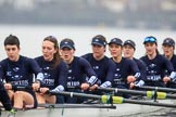 "The Boat Race season 2018 - Women's Boat Race Trial Eights (OUWBC, Oxford): ""Great Typhoon"" - stroke Alice Roberts,  7 Abigail Killen, 6 Sara Kushma, 5 Olivia Pryer, 4 Linda Van Bijsterveldt, 3 Madeline Goss, 2 Laura Depner, bow Matilda Edwards. River Thames between Putney Bridge and Mortlake, London SW15,  United Kingdom, on 21 January 2018 at 14:37, image #120"