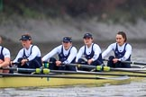 """The Boat Race season 2018 - Women's Boat Race Trial Eights (OUWBC, Oxford): """"Coursing River"""" - 4 Anna Murgatroyd, 3 Stefanie Zekoll, 2 Rachel Anderson, bow Sarah Payne-Riches. River Thames between Putney Bridge and Mortlake, London SW15,  United Kingdom, on 21 January 2018 at 14:37, image #121"""