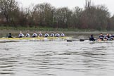 """The Boat Race season 2018 - Women's Boat Race Trial Eights (OUWBC, Oxford): """"Coursing River"""" and """"Great Typhoon"""" at Chiswick Eyot. River Thames between Putney Bridge and Mortlake, London SW15,  United Kingdom, on 21 January 2018 at 14:38, image #122"""