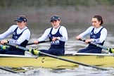 """The Boat Race season 2018 - Women's Boat Race Trial Eights (OUWBC, Oxford): """"Coursing River"""" -  3 Stefanie Zekoll, 2 Rachel Anderson, bow Sarah Payne-Riches. River Thames between Putney Bridge and Mortlake, London SW15,  United Kingdom, on 21 January 2018 at 14:38, image #126"""