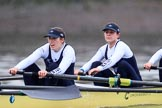 """The Boat Race season 2018 - Women's Boat Race Trial Eights (OUWBC, Oxford): """"Coursing River"""" - 3 Stefanie Zekoll, 2 Rachel Anderson. River Thames between Putney Bridge and Mortlake, London SW15,  United Kingdom, on 21 January 2018 at 14:38, image #127"""
