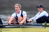 """The Boat Race season 2018 - Women's Boat Race Trial Eights (OUWBC, Oxford): """"Coursing River"""" - 5 Morgan McGovern, 4 Anna Murgatroyd. River Thames between Putney Bridge and Mortlake, London SW15,  United Kingdom, on 21 January 2018 at 14:38, image #128"""
