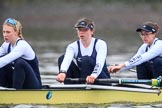 """The Boat Race season 2018 - Women's Boat Race Trial Eights (OUWBC, Oxford): """"Coursing River"""" -   stroke Beth Bridgman, 7 Juliette Perry, 6 Katherine Erickson. River Thames between Putney Bridge and Mortlake, London SW15,  United Kingdom, on 21 January 2018 at 14:38, image #129"""