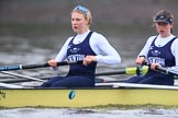 """The Boat Race season 2018 - Women's Boat Race Trial Eights (OUWBC, Oxford): """"Coursing River"""" -  stroke Beth Bridgman, 7 Juliette Perry. River Thames between Putney Bridge and Mortlake, London SW15,  United Kingdom, on 21 January 2018 at 14:38, image #130"""