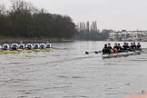 """The Boat Race season 2018 - Women's Boat Race Trial Eights (OUWBC, Oxford): """"Great Typhoon"""" and """"Coursing River"""" near Chiswick Pier. River Thames between Putney Bridge and Mortlake, London SW15,  United Kingdom, on 21 January 2018 at 14:39, image #131"""