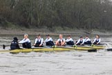 """The Boat Race season 2018 - Women's Boat Race Trial Eights (OUWBC, Oxford): """"Coursing River"""" approaching Chiswick Pier - cox Ellie Shearer, stroke Beth Bridgman, 7 Juliette Perry, 6 Katherine Erickson, 5 Morgan McGovern, 4 Anna Murgatroyd, 3 Stefanie Zekoll, 2 Rachel Anderson, bow Sarah Payne-Riches. River Thames between Putney Bridge and Mortlake, London SW15,  United Kingdom, on 21 January 2018 at 14:39, image #133"""