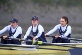"The Boat Race season 2018 - Women's Boat Race Trial Eights (OUWBC, Oxford): ""Coursing River"" approaching Chiswick Pier - 2 Rachel Anderson, bow Sarah Payne-Riches. River Thames between Putney Bridge and Mortlake, London SW15,  United Kingdom, on 21 January 2018 at 14:39, image #138"
