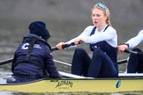 "The Boat Race season 2018 - Women's Boat Race Trial Eights (OUWBC, Oxford): ""Coursing River"" approaching Chiswick Pier - cox Ellie Shearer, stroke Beth Bridgman. River Thames between Putney Bridge and Mortlake, London SW15,  United Kingdom, on 21 January 2018 at 14:39, image #141"