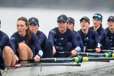 "The Boat Race season 2018 - Women's Boat Race Trial Eights (OUWBC, Oxford): ""Great Typhoon"" - 7 Abigail Killen, 6 Sara Kushma, 5 Olivia Pryer, 4 Linda Van Bijsterveldt, 3 Madeline Goss, 2 Laura Depner, bow Matilda Edwards. River Thames between Putney Bridge and Mortlake, London SW15,  United Kingdom, on 21 January 2018 at 14:39, image #142"