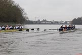 "The Boat Race season 2018 - Women's Boat Race Trial Eights (OUWBC, Oxford): ""Great Typhoon"" and ""Coursing River"" near Chiswick Pier. River Thames between Putney Bridge and Mortlake, London SW15,  United Kingdom, on 21 January 2018 at 14:40, image #143"