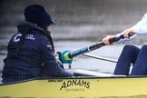 "The Boat Race season 2018 - Women's Boat Race Trial Eights (OUWBC, Oxford): ""Coursing River"" -  cox Ellie Shearer, stroke Beth Bridgman in the rain. River Thames between Putney Bridge and Mortlake, London SW15,  United Kingdom, on 21 January 2018 at 14:41, image #147"