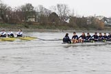"The Boat Race season 2018 - Women's Boat Race Trial Eights (OUWBC, Oxford): ""Great Typhoon"" and ""Coursing River"" in the Bandstand area. River Thames between Putney Bridge and Mortlake, London SW15,  United Kingdom, on 21 January 2018 at 14:41, image #148"
