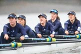 "The Boat Race season 2018 - Women's Boat Race Trial Eights (OUWBC, Oxford): ""Great Typhoon"" - 5 Olivia Pryer, 4 Linda Van Bijsterveldt, 3 Madeline Goss, 2 Laura Depner, bow Matilda Edwards. River Thames between Putney Bridge and Mortlake, London SW15,  United Kingdom, on 21 January 2018 at 14:42, image #149"