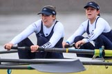 "The Boat Race season 2018 - Women's Boat Race Trial Eights (OUWBC, Oxford): ""Coursing River"" approaching Barnes Railway Bridge - 3 Stefanie Zekoll, 2 Rachel Anderson. River Thames between Putney Bridge and Mortlake, London SW15,  United Kingdom, on 21 January 2018 at 14:42, image #152"