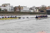 "The Boat Race season 2018 - Women's Boat Race Trial Eights (OUWBC, Oxford): ""Great Typhoon"" and ""Coursing River"" approaching Barnes Railway Bridge. River Thames between Putney Bridge and Mortlake, London SW15,  United Kingdom, on 21 January 2018 at 14:43, image #153"