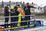 The Boat Race season 2018 - Women's Boat Race Trial Eights (OUWBC, Oxford): Race umpire Sir Matthew Pinsent warning the crews as they get a bit close again. River Thames between Putney Bridge and Mortlake, London SW15,  United Kingdom, on 21 January 2018 at 14:43, image #154