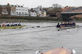 "The Boat Race season 2018 - Women's Boat Race Trial Eights (OUWBC, Oxford): ""Great Typhoon"" and ""Coursing River"" approaching Barnes Railway Bridge. River Thames between Putney Bridge and Mortlake, London SW15,  United Kingdom, on 21 January 2018 at 14:43, image #155"